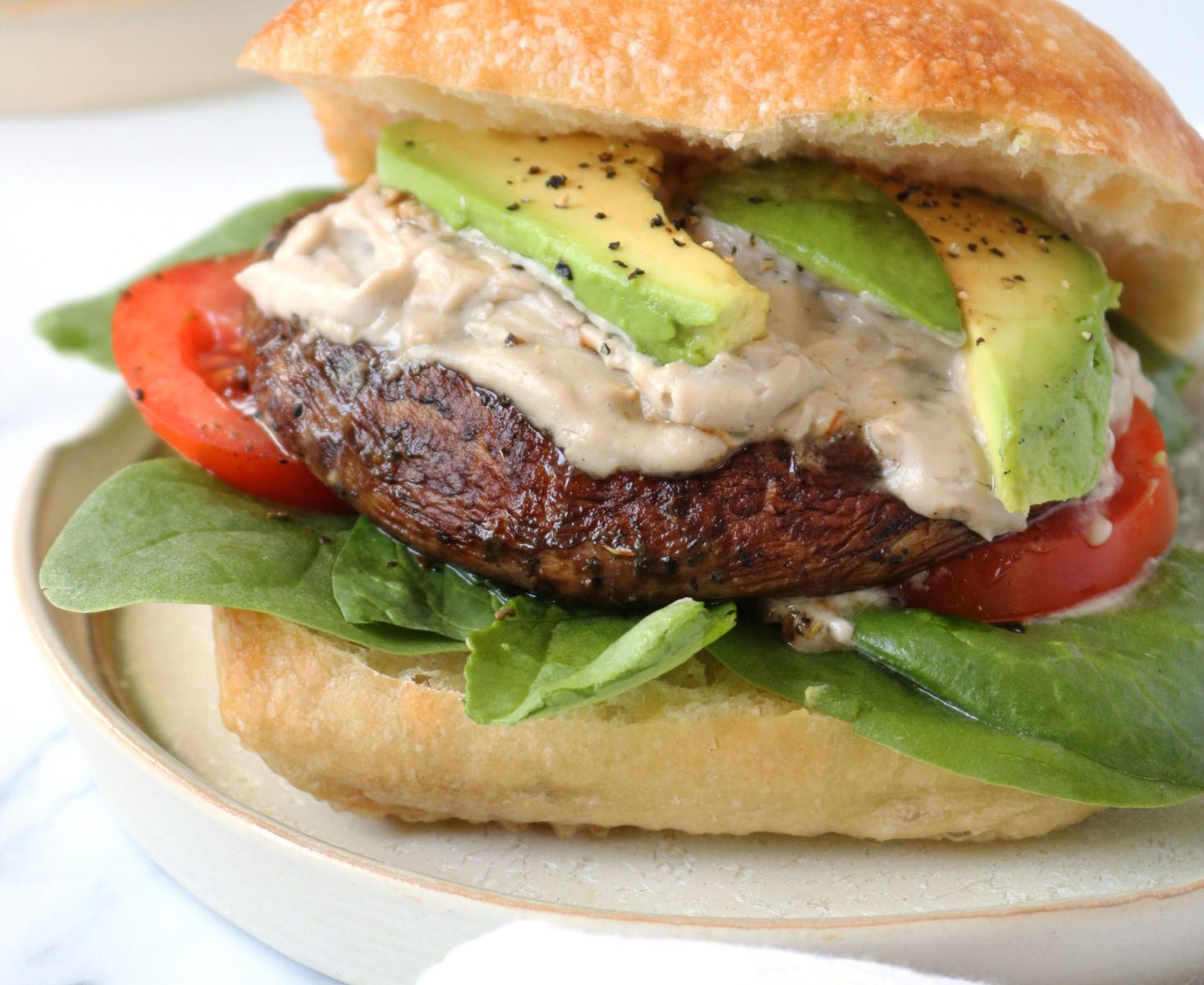 Grilled Vegan Portobello Mushroom Burger Recipe with Vegan Cheese