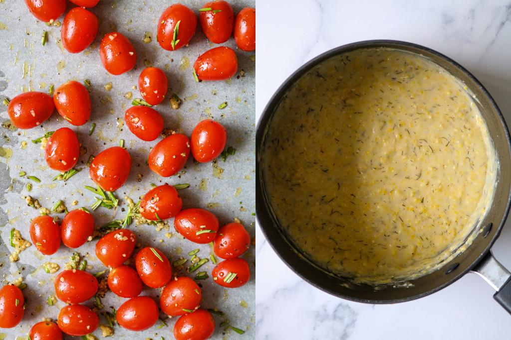 roasted tomatos next to a pot of creamy vegan polenta