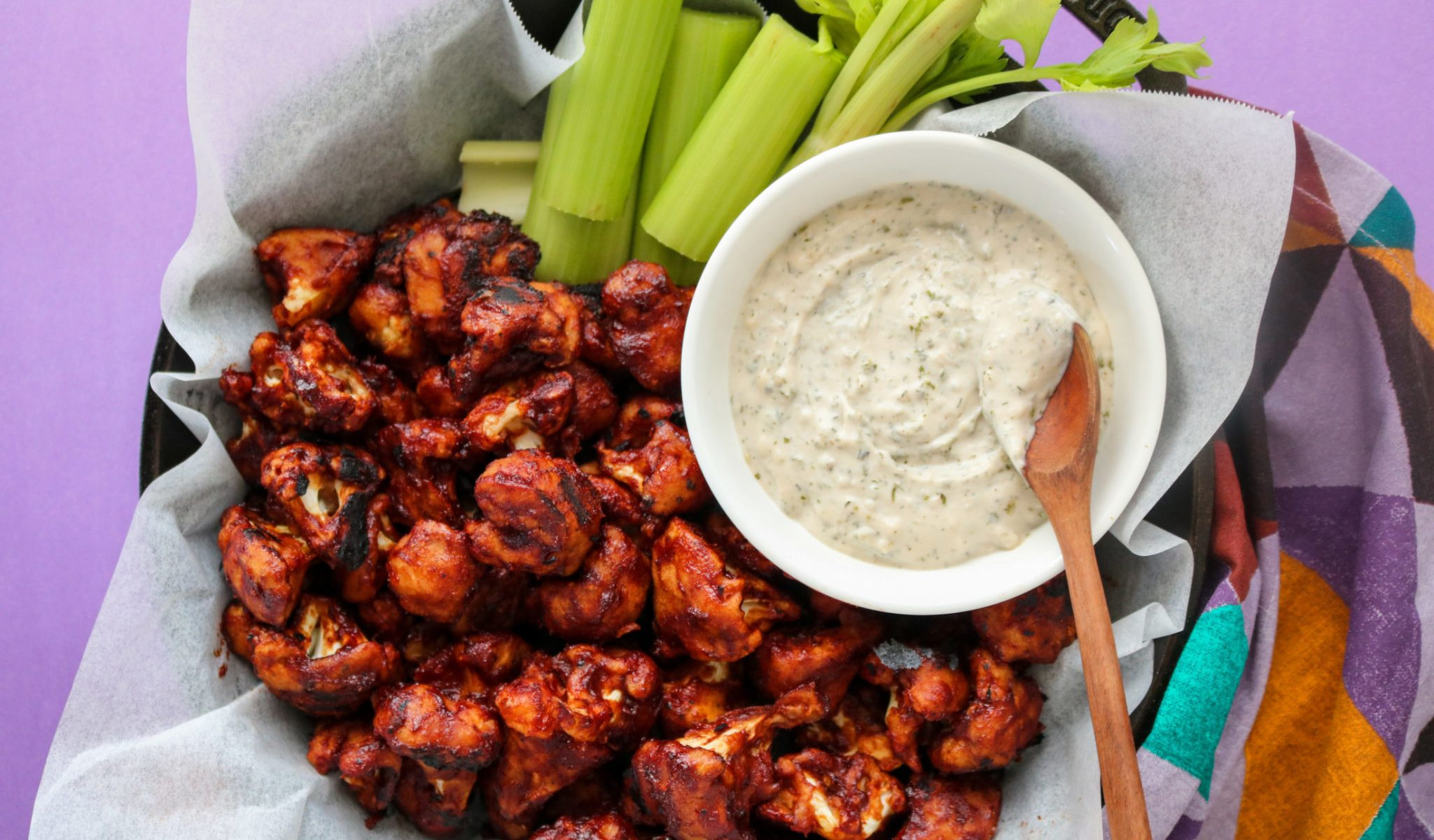 BBQ Cauliflower Wings Recipe with Vegan Ranch