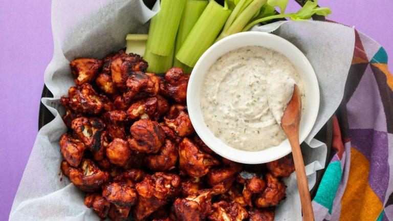 BBQ Cauliflower Wings Recipe with Vegan Ranch