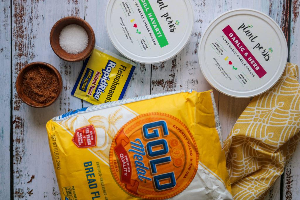 ingredients laying on counter for homemade vegan bagel recipe