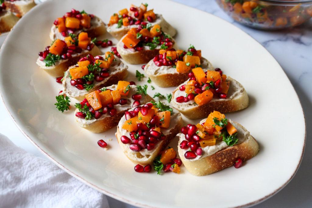 butternut squash and pomegranate bruschetta