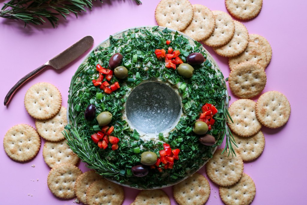 savory vegan cheese christmas wreath