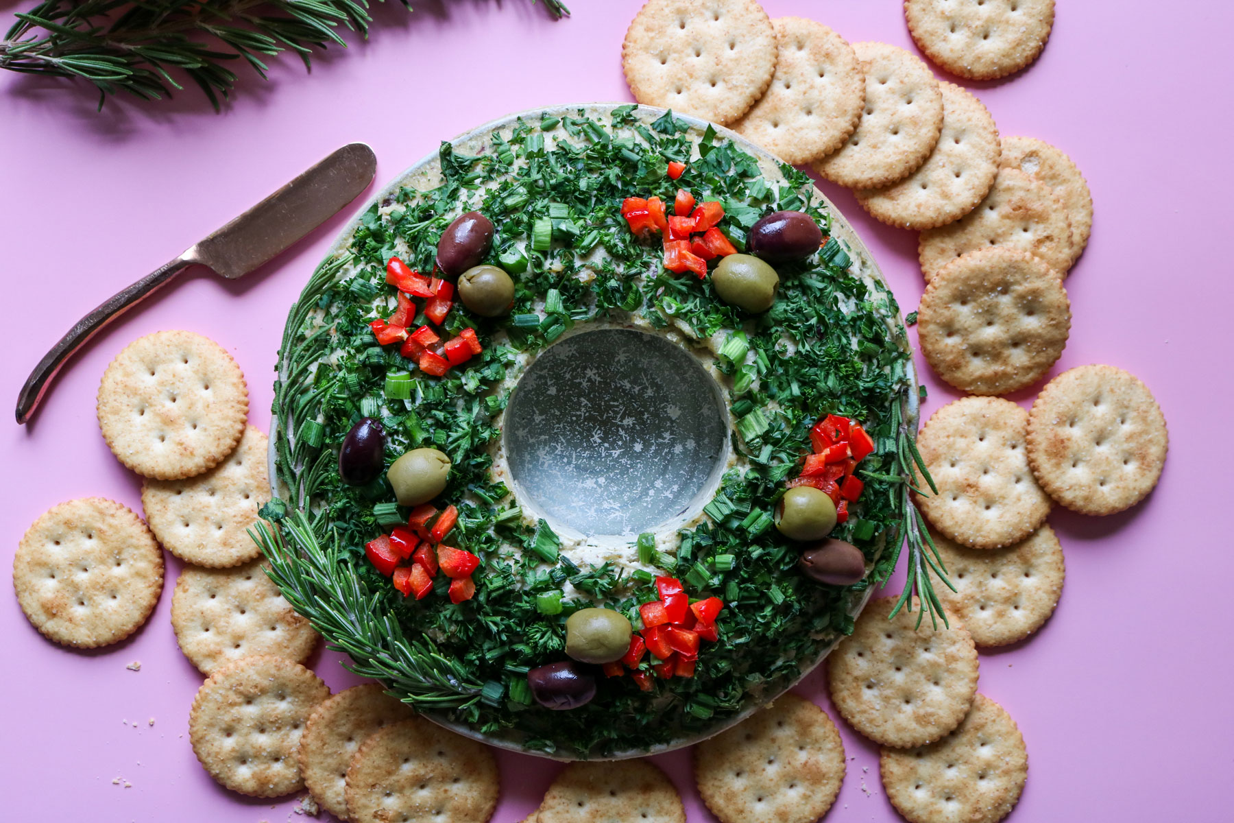 Savory Vegan Christmas Cheese Ball Wreath Recipe