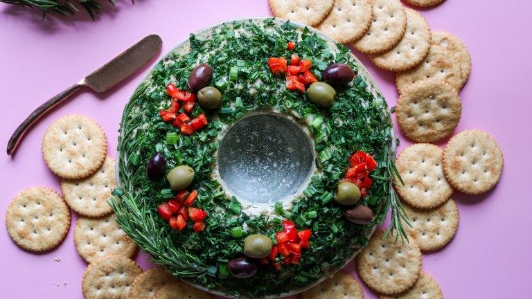 Savory Vegan Christmas Cheese Ball Wreath Recipe