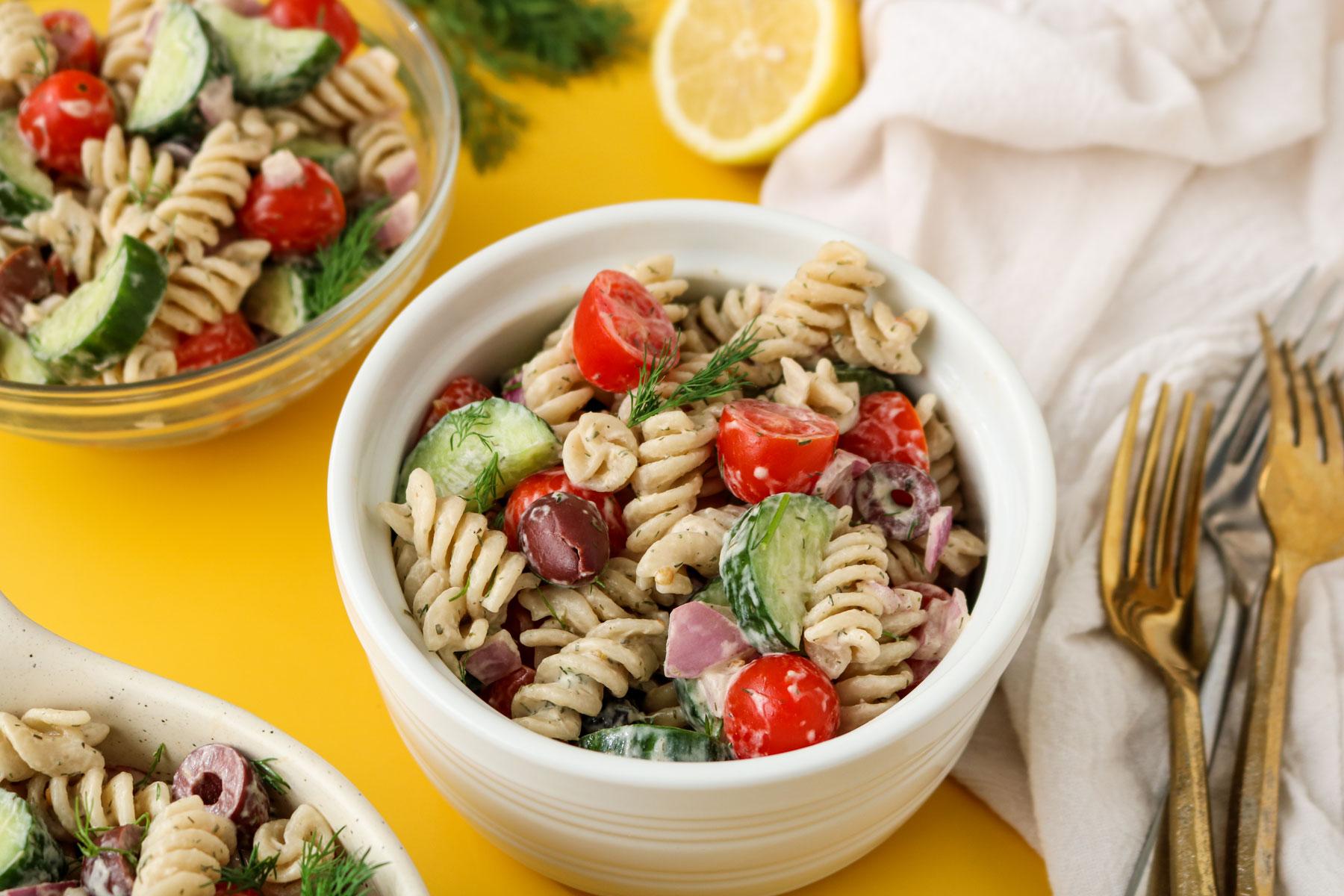 Cold Vegan Greek Pasta Salad Recipe Plant Perks