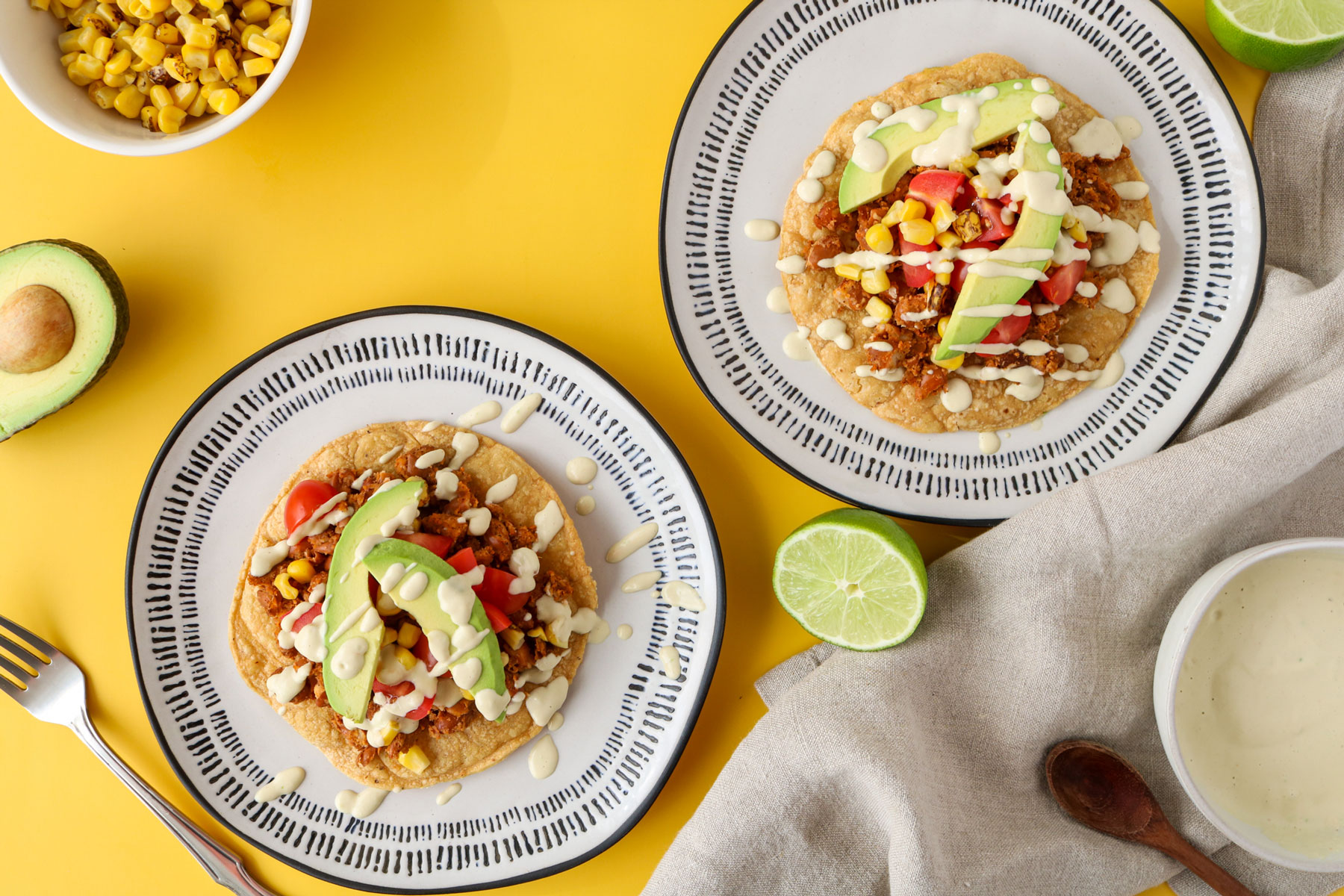 Spicy Pinto Bean Vegan Tostadas Recipe