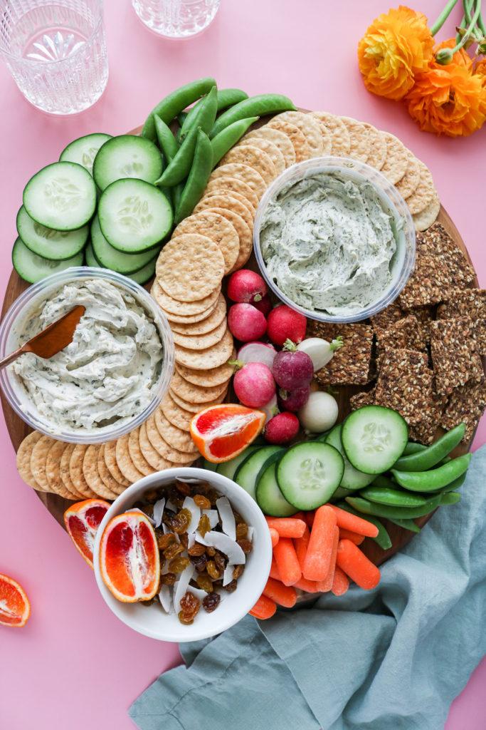 spring vegan cheese board
