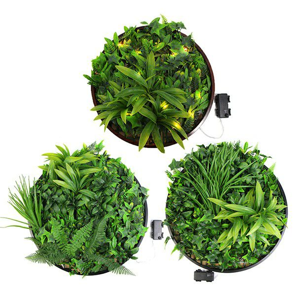 Artificial Green Wall Discs Art with LED Light RFB041