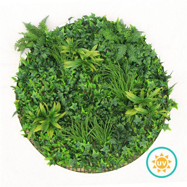 Circular Artificial Garden Wall Disk With Green Ivy