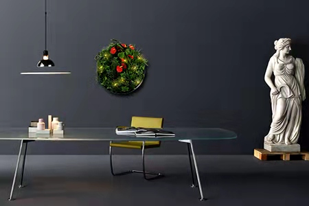 artificial plant wall disk on the wall
