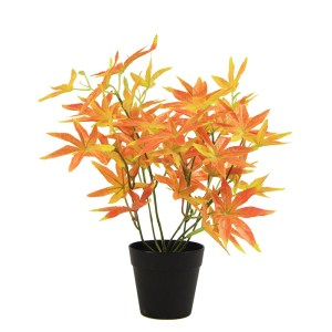 Artificial Potted Plants with Red Maple leaves