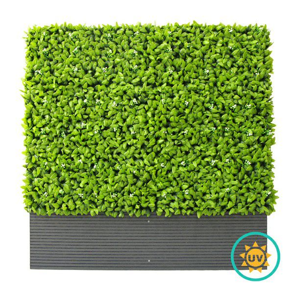 A040 Artificial Privacy Planters with Evergreen White Flowers