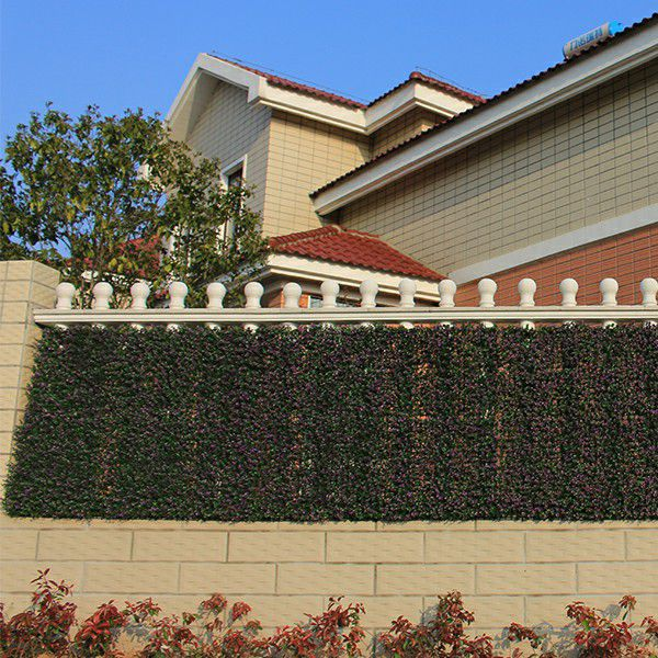 fence screen with artificial boxwood hedges A006