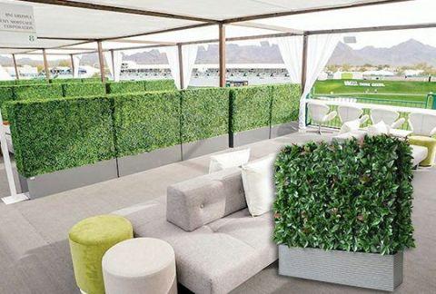 inside landscape of faux box hedge planters