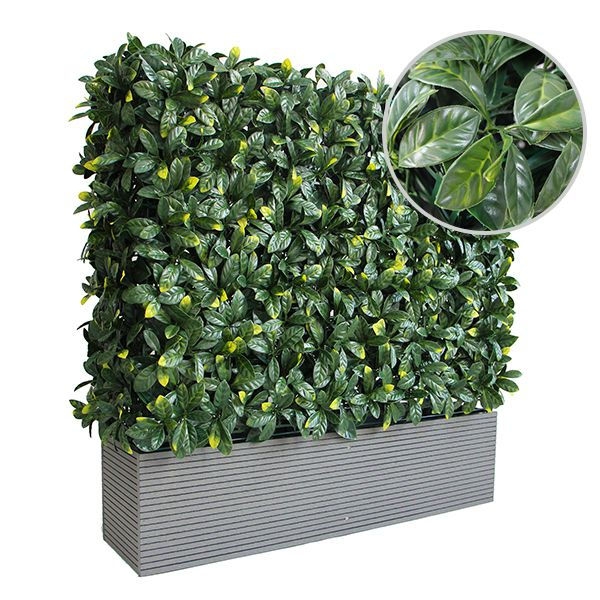 laurel foliage of artificial box hedge planters