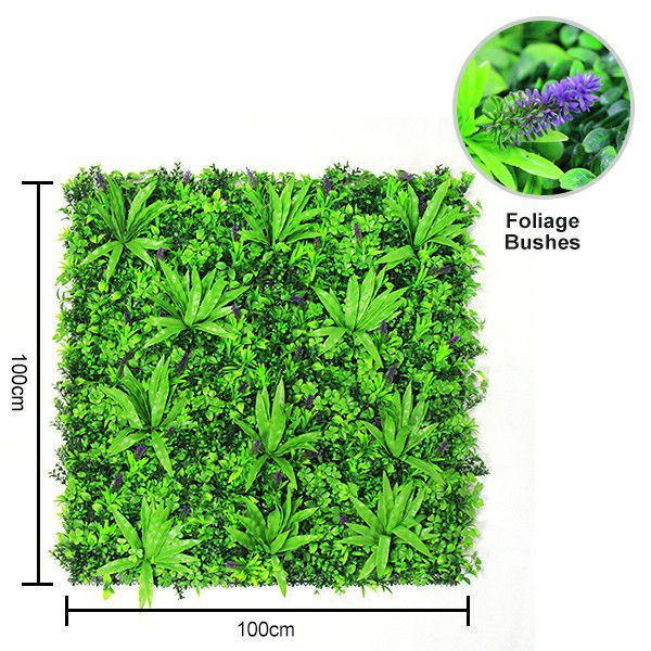 1m by 1m Artificial wall plants with foliage bushes