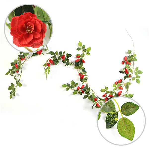 floral garlands with red heads