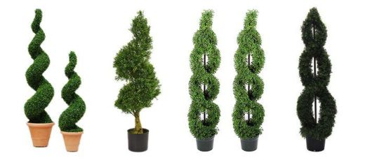 Faux single or double spiral topiary plants