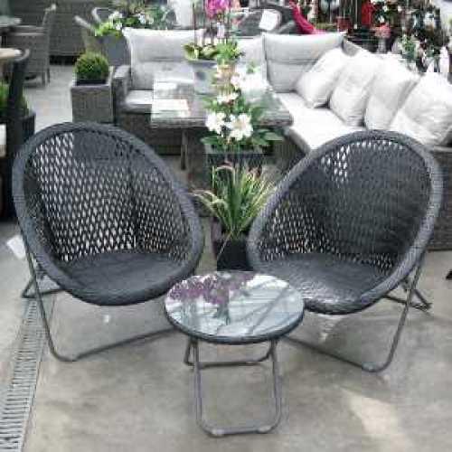 Tobs Black Faux Rattan Folding Lounge Set 24535  The Old