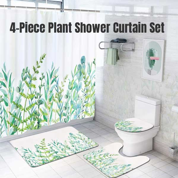 with a plant shower curtain set