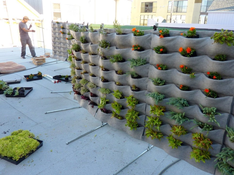 Joy Alberts, Joyous Spaces. Florafelt Vertical Garden Planters.