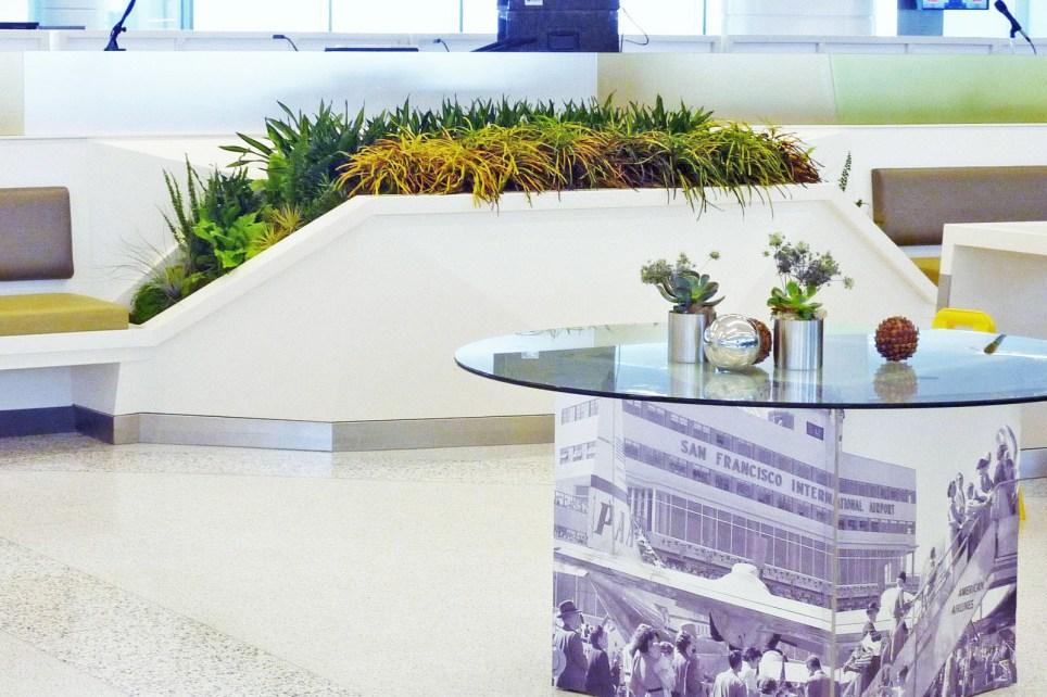 Marcée Cretarolo, SFO Terminal 2. Florafelt Vertical Garden Planters.