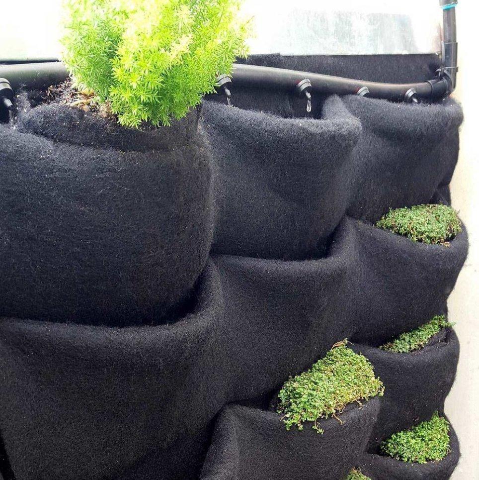 Florafelt Pockets custom drip irrigation.