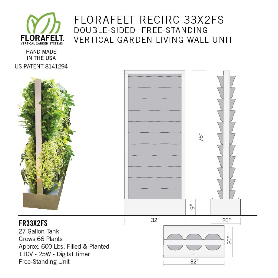 Florafelt Recirc 66-Pocket Free-Standing Double Sided Vertical Garden System