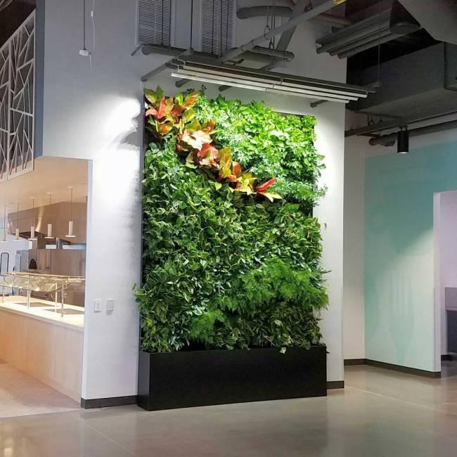Florafelt® Pocket Panels custom recirculating vertical garden for Google Sunnyvale Campus by Planted Design.