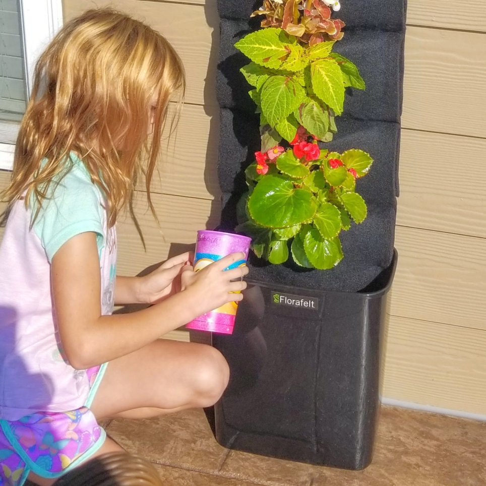 A vertical Garden that's great for kids. The Florafelt Compact Kit is a fun and easy way to learn about plants.