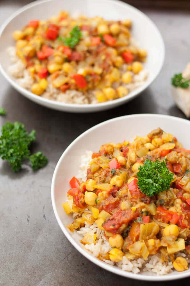 This delicious Indian inspired Chickpea Eggplant Curry is oil free, low fat and vegan.