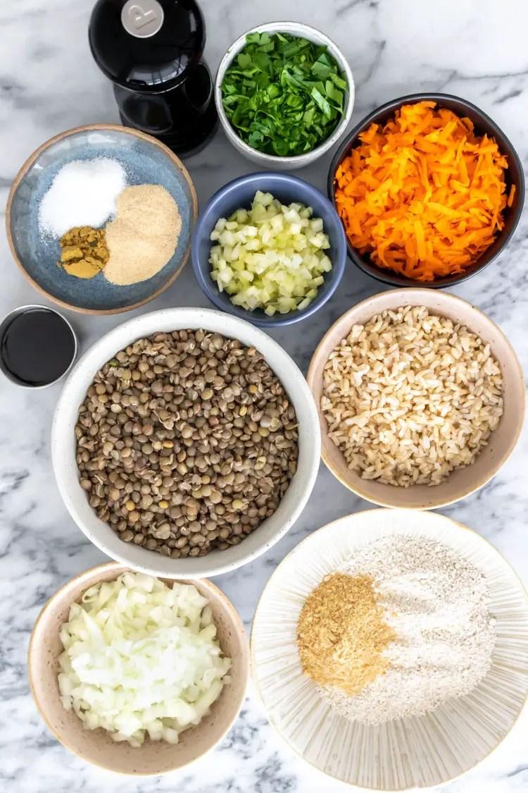 ingredientes de hambúrguer de lentilha