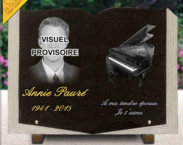 Plaque funraire avec photo piano Forme livre