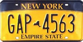 plaque auto Empire Gold New-York