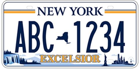 Voici la nouvelle plaque d'immatriculation Excelsior pour New-York