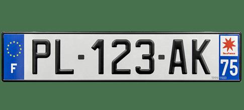 plaque immatriculation aluminium