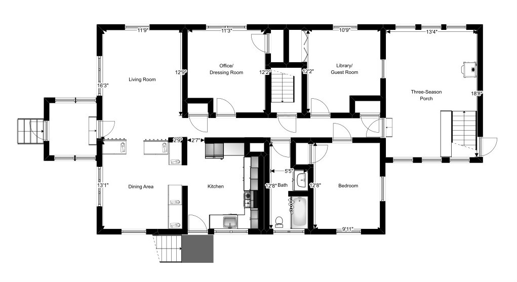 Naomi Pre-Renovation Floor Plan - Plaster & Disaster