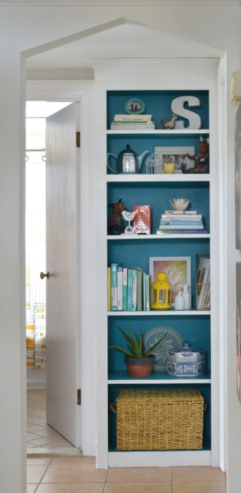 Colorful built-in bookshelf -- Plaster & Disaster