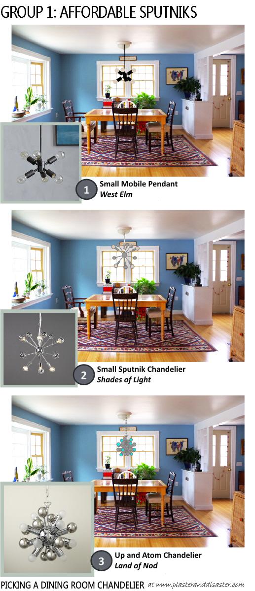 Picking a Dining Room Chandelier - Affordable Sputniks - Plaster & Disaster