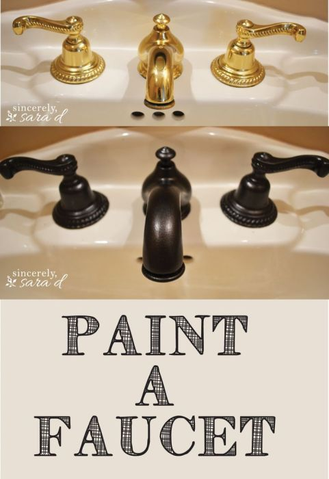 Paint a brass faucet oil rubbed bronze -- Plaster & Disaster