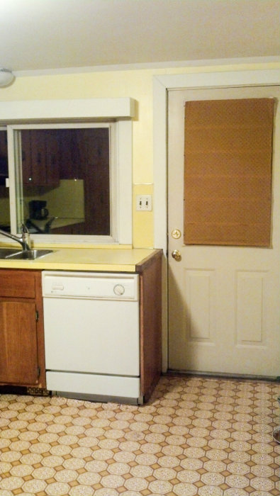 Temporary Kitchen Backsplash using Renters Wallpaper - Kitchen Door Before - Plaster & Disaster