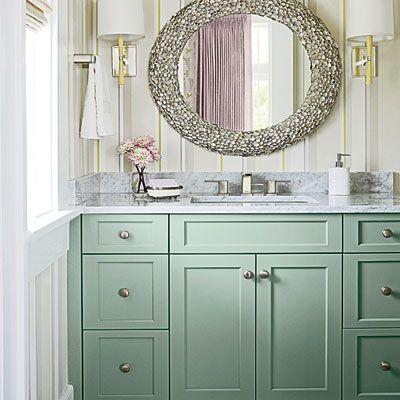 Mint green vanity -- Plaster & Disaster