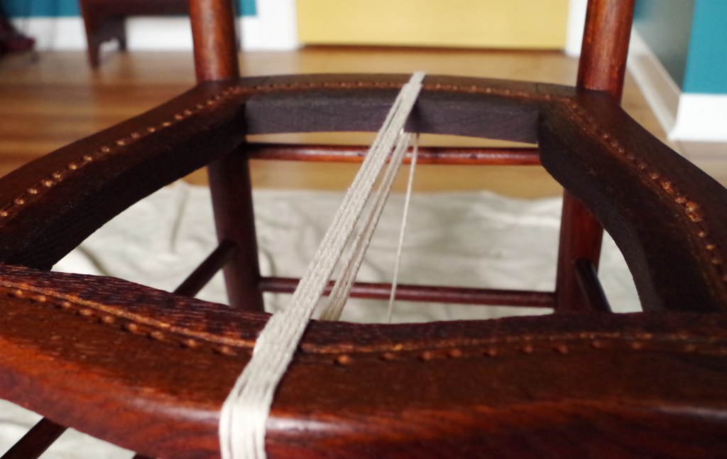 Fixing broken cane chair with butchers twine - Plaster & Disaster