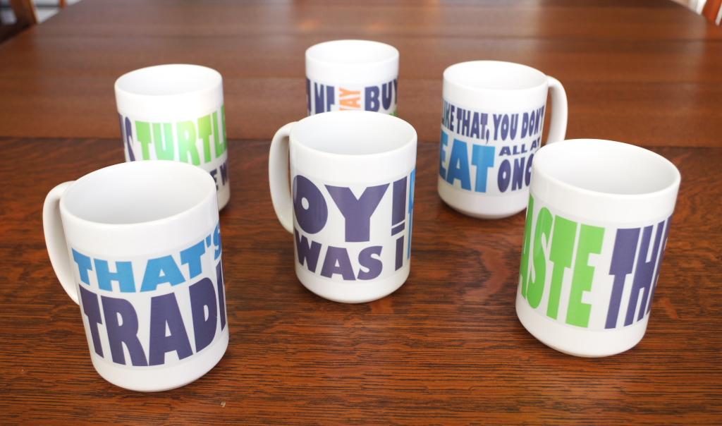 """Custom graphic """"punchline"""" mugs - Plaster & Disaster"""