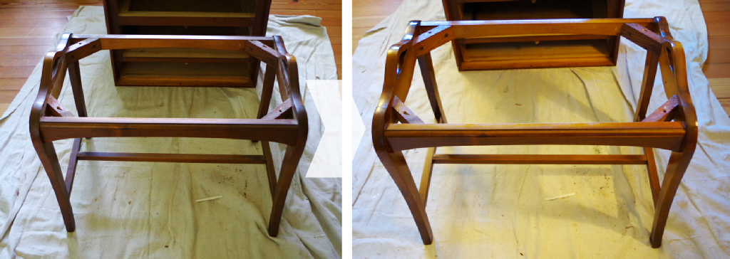 Reupholster Bench - Before and after wood polish - Plaster & Disaster