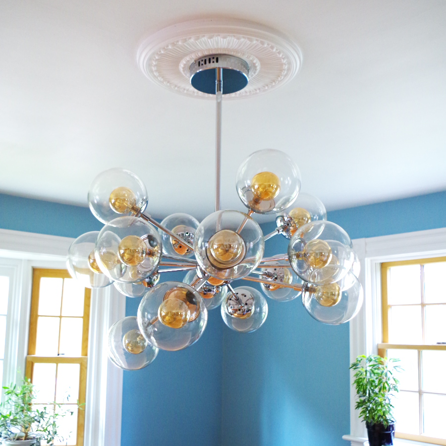 Finally a chandelier and how to install a ceiling medallion a chandelier and how to install a ceiling medallion plaster disaster arubaitofo Images