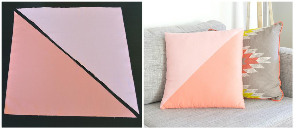 DIY Color block throw pillows -- Plaster & Disaster