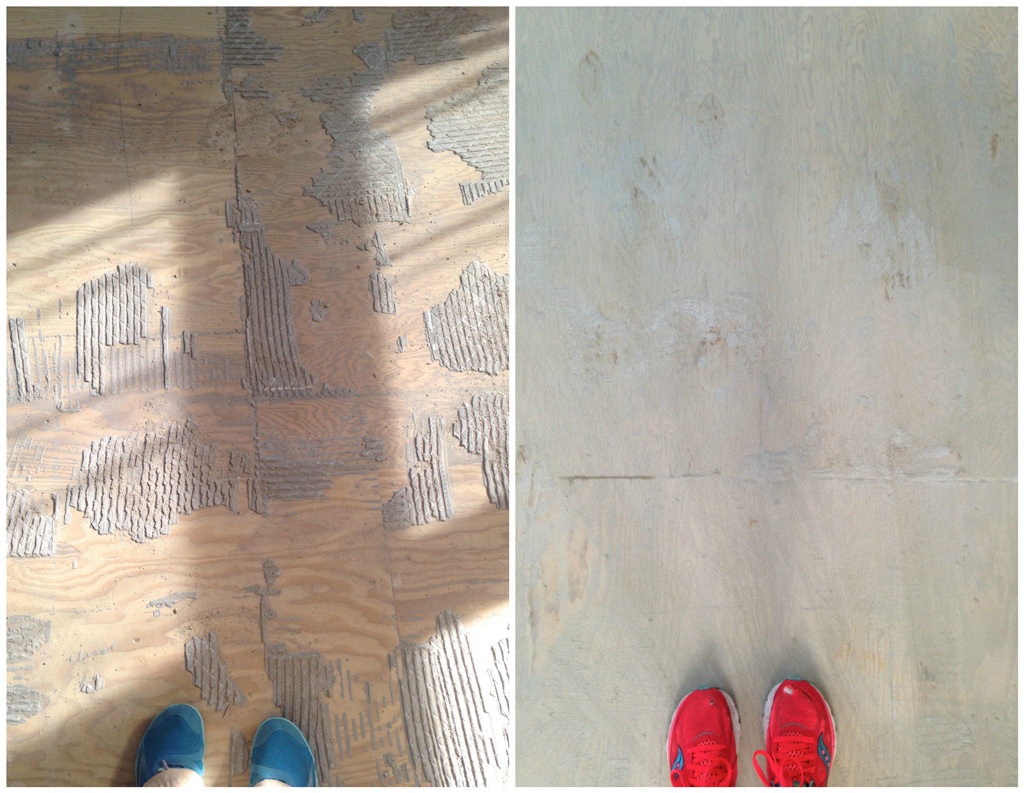 Floor no more and how to mostly remove thinset from wood tearing up tile floor plaster disaster dailygadgetfo Images