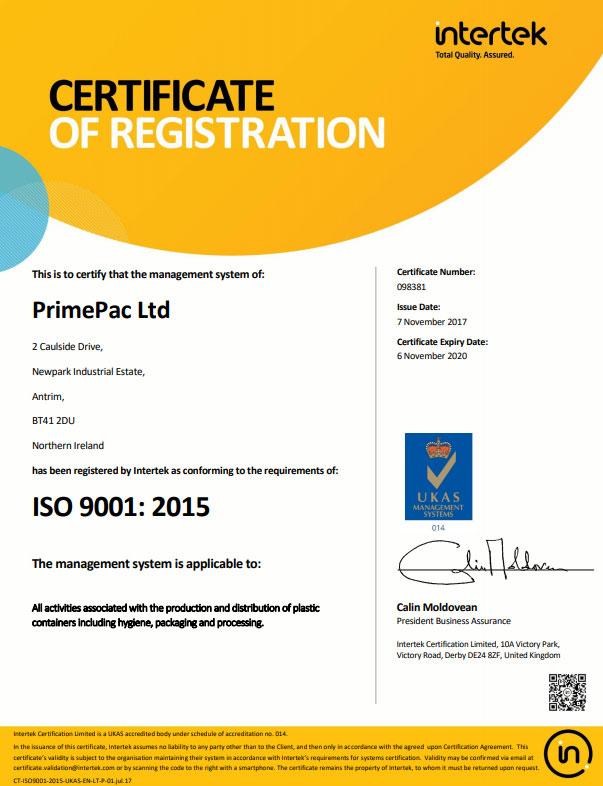 New ISO 9001 standard for PrimePac - Plastic Bottles NI